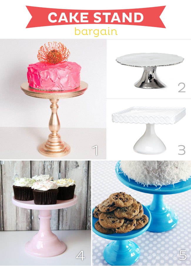 Cake Stand Bargains--15 fabulous cake stand splurges, bargains and diy from www.strawberrymommycakes.com