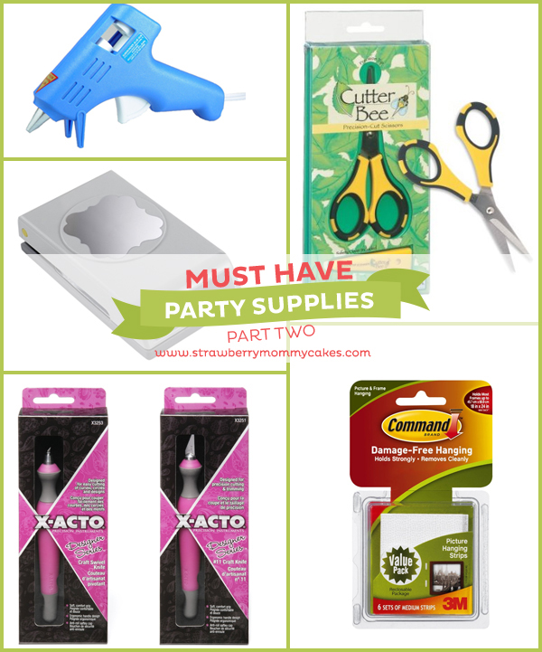 Must Have Party Supplies on www.strawberrymommycakes.com