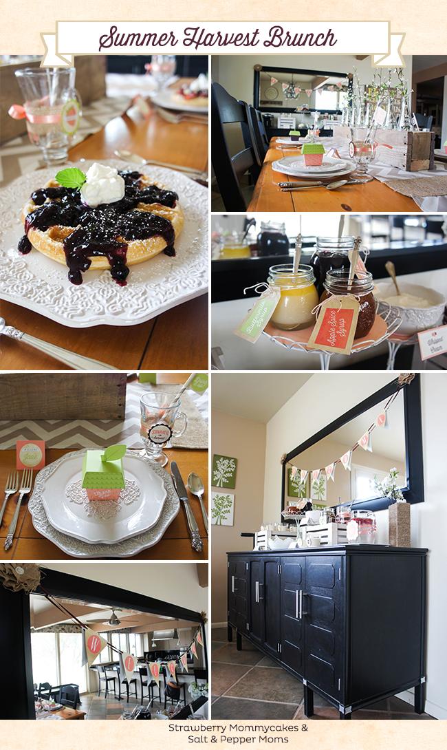 Summer Harvest Brunch by Strawberry Mommycakes and Salt and Pepper Moms #brunch #breakfastbar #wafflebar