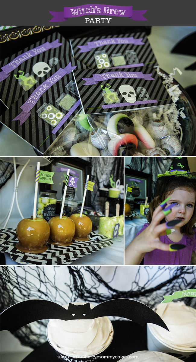 Witch's Brew Halloween Party on www.strawberrymommycakes.com #halloweenparty #witchsbrew #halloweenprintables #halloween