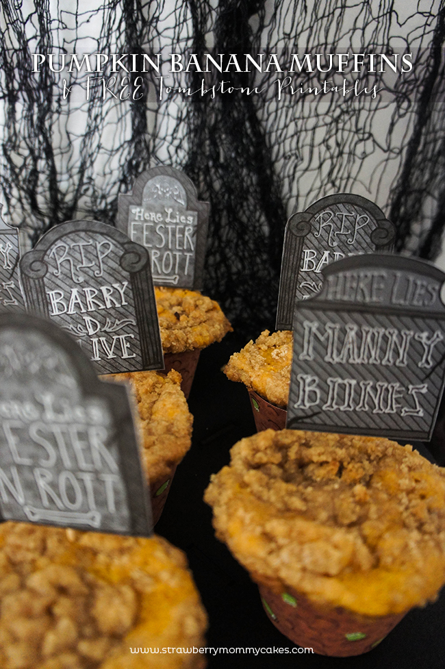 tPumpkin Banana Muffins with Free Tombstone Printables on www.strawberrymommycakes.com #freeprintables #halloweenprintables #pumpkinrecipe