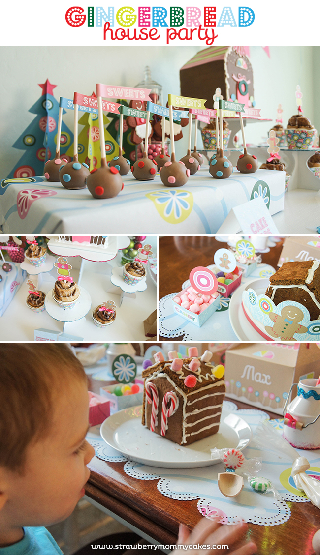 Gingerbread House Party on www.strawberrymommycakes.com #gingerbreadhouseparty #Christmasparty #Christmas #printables #party
