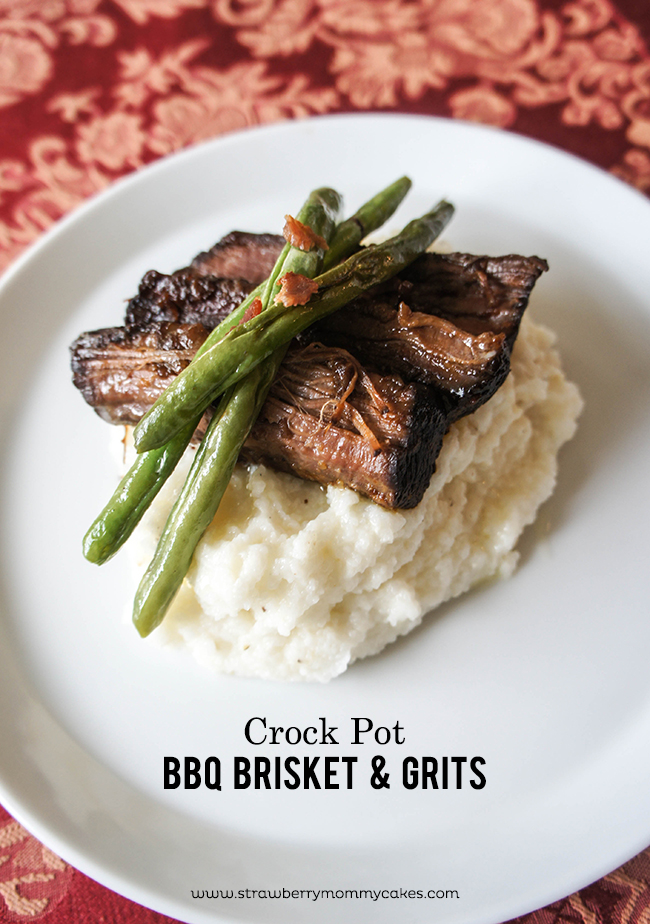 CrockPot BBQ Brisket and Grits on www.strawberrymommycakes.com #bbqbrisket #crockpotrecipe