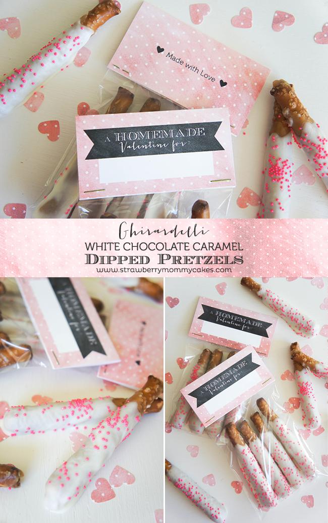 Ghirardelli Chocolate Caramel Dipped Pretzels on www.strawberrymommycakes.com #valentinesday #BakeWithGhirardelli #valentinesday #valentineprintable #freeprintable