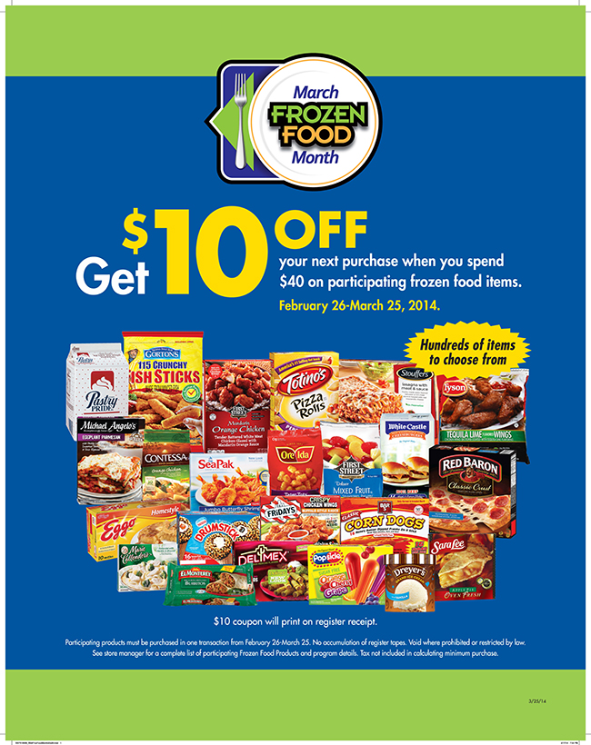 Get $10 off your next purchase when you spend $40 on participating frozen food items! www.strawberrymommycakes.com #coupon #frozenfoodmonth #ChooseSmart #shop
