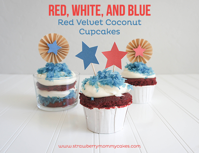 Fourth of July Red Velvet Coconut Cupcakes on www.strawberrymommycakes.com #cupcakes #fourthofjuly