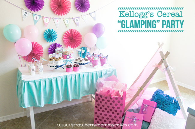 "Kellogg's Cereal ""Glamping"" Party on www.strawberrymommycakes.com #goodnightsnack  #shop  #glampingparty"