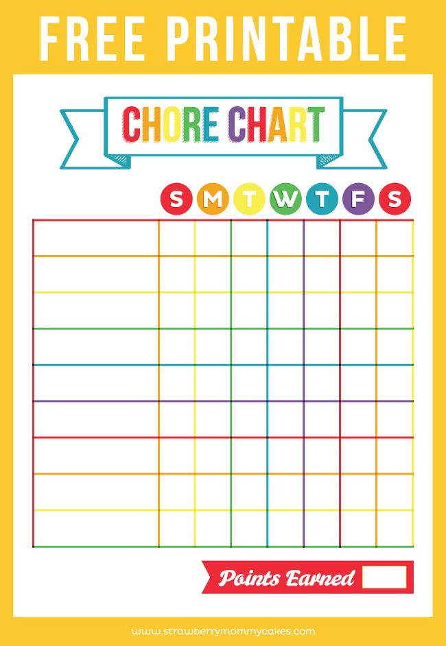 Influential image throughout chore chart free printable
