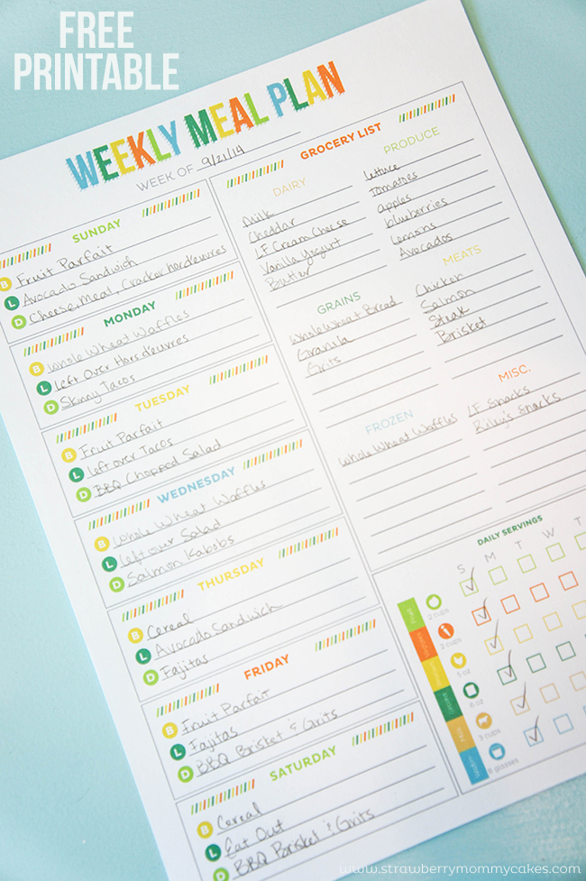 FREE Printable Weekly Meal Plan on www.strawberrymommycakes.com #HealthyHydration #CollectiveBias #Ad #freeprintable