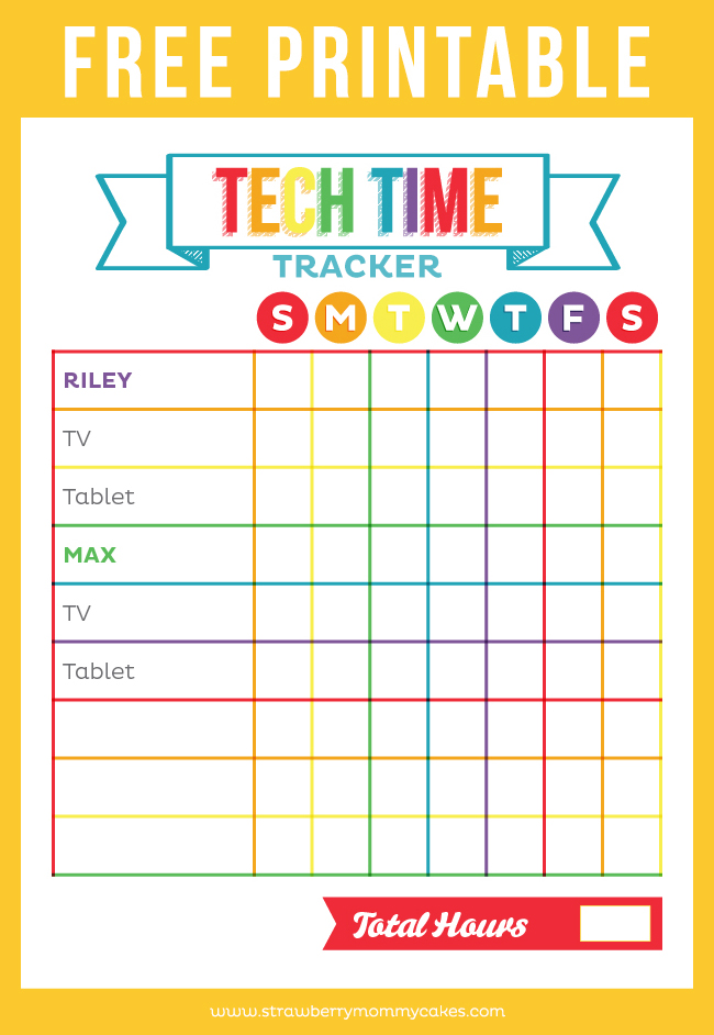 Free Printable Tech Time Tracker  Printable Crush