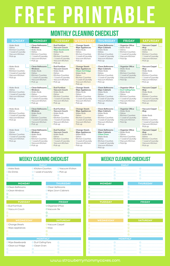 Maintain A Clean Home Printable Cleaning Schedule - Printable Crush