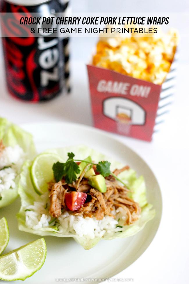 Cherry Coke Pork Lettuce Wraps and Free Game Night Printables