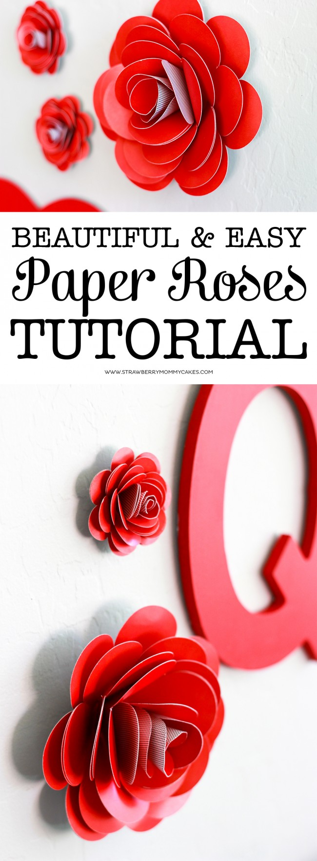 How to Make Easy Paper Roses! These paper roses would be perfect for your party decor for any occasion, like Valentine's Day or Easter!