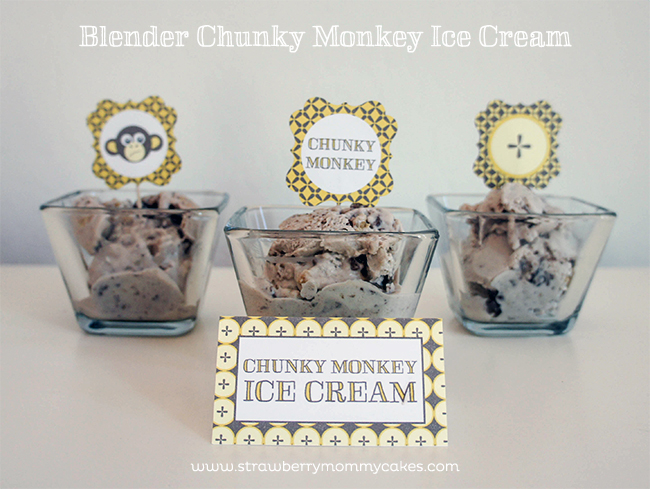 Blender Chunky Monkey Ice Cream with Free Printables from www.strawberrymommycakes.com