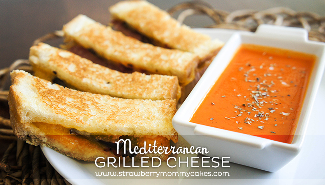 Mediterranean Grilled Cheese Sandwich with Roasted Pepper Tomato Soup on www.strawberrymommycakes.com