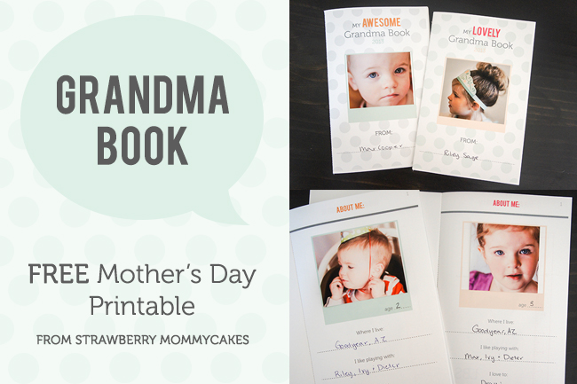 Grandma Book FREE Mother's Day Printable on www.strawberrymommycakes.com