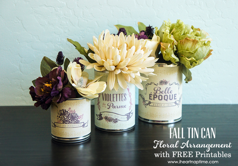 Fall Tin Can Floral Arrangement with FREE Printables on www.strawberrymommycakes.com #fallfloralarrangment #falldecor #freeprintables #frenchlabels
