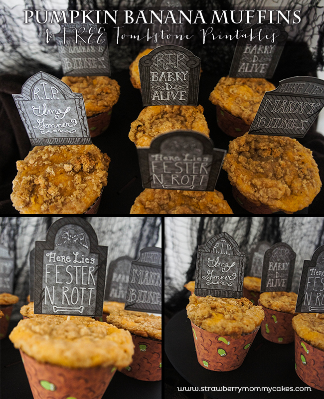 Pumpkin Banana Muffins with Free Tombstone Printables on www.strawberrymommycakes.com #freeprintables #halloweenprintables #pumpkinrecipe