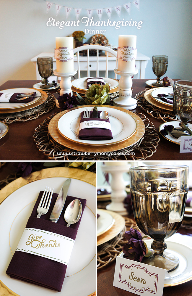 Elegant thanksgiving dinner with free printables for Elegant thanksgiving table settings