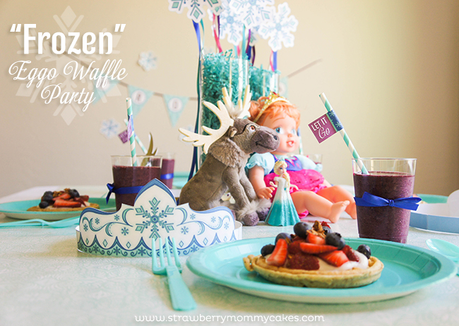 """Frozen"" Waffle Party with FREE printables on www.strawberrymommycakes.com #FROZENfun #collectivebias #frozen #frozenparty #freeprintables"