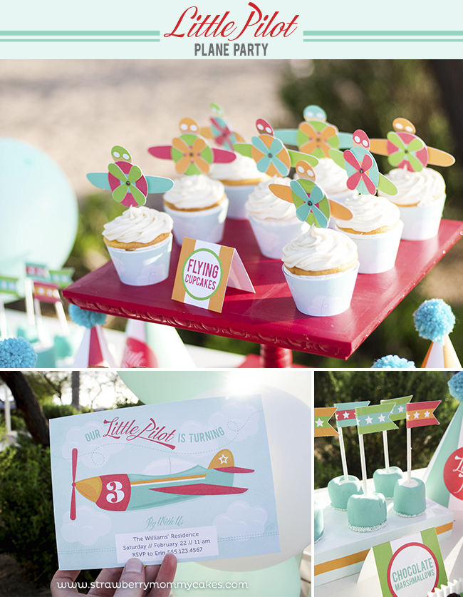 Little Pilot Plane Party on a Budget on www.strawberrymommycakes.com #planeparty #partyonabudget #partyprintables #planeprintables