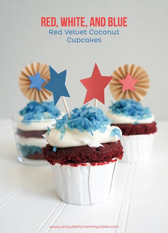 Fourth of July Red Velvet Coconut Cupcakes on www.strawberrymommycakes.com #cupcakes #fourthofjuly  #ultimateredwhiteandblue
