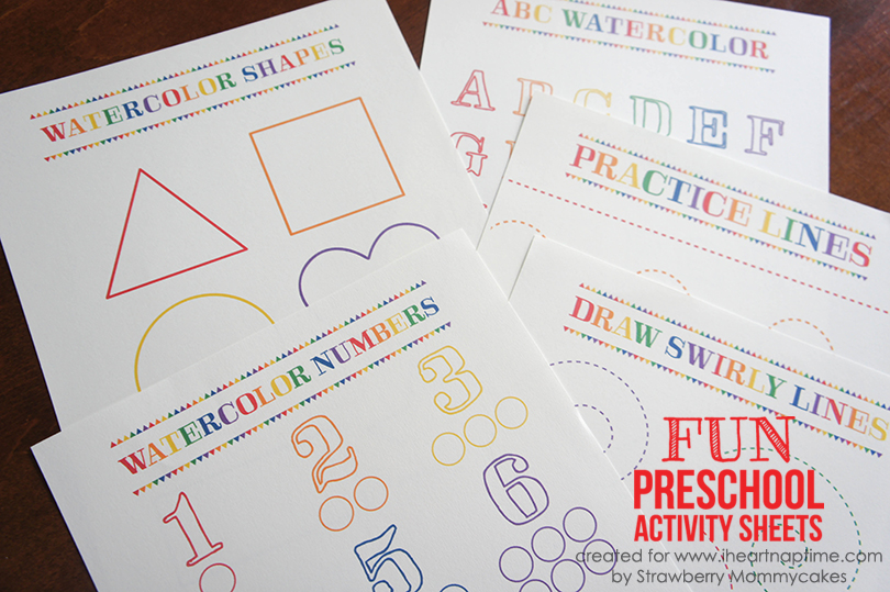 Preschool Watercolor Worksheets on www.strawberrymommycakes.com