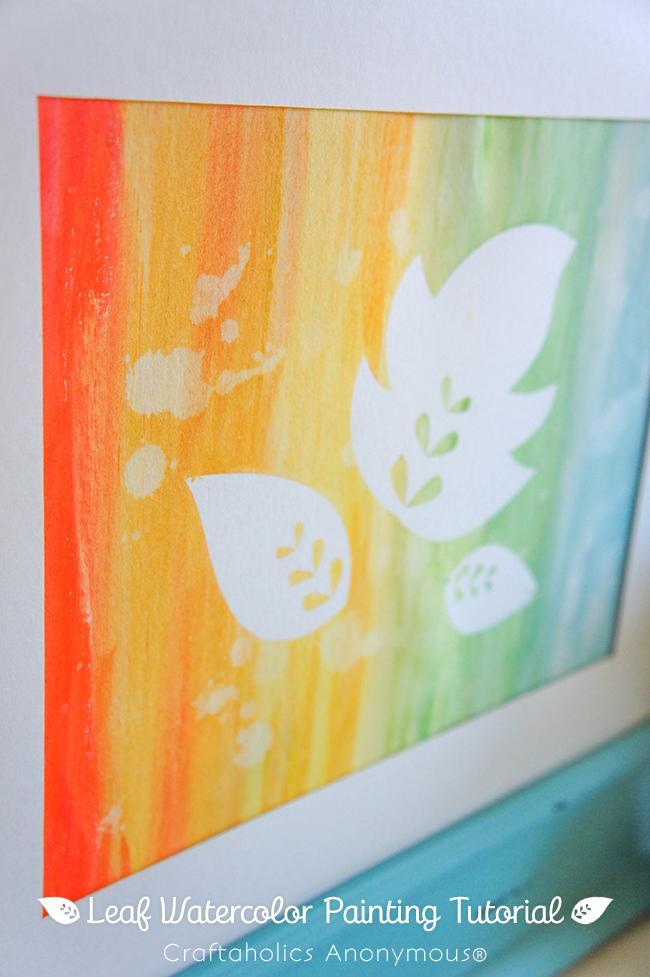 Super Easy Fall Art on www.strawberrymommycakes.com #fallart #watercolor