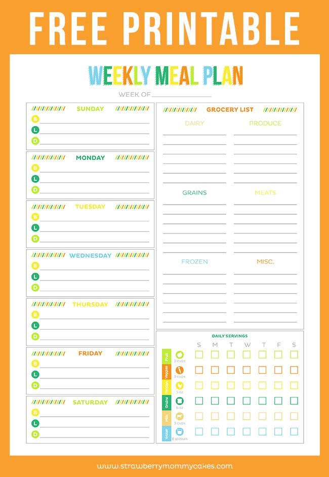 Free printable weekly meal planner printable crush for Menu planning template with grocery list