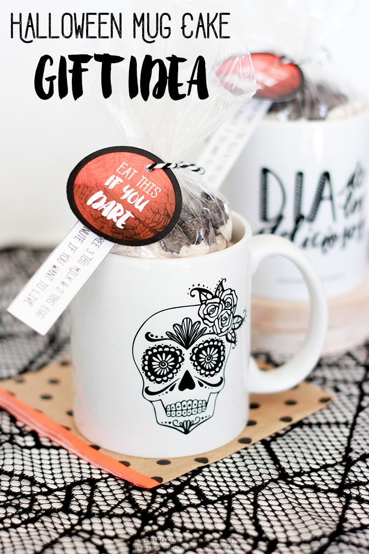 Halloween Mug Cake Gift Idea with FREE Printables