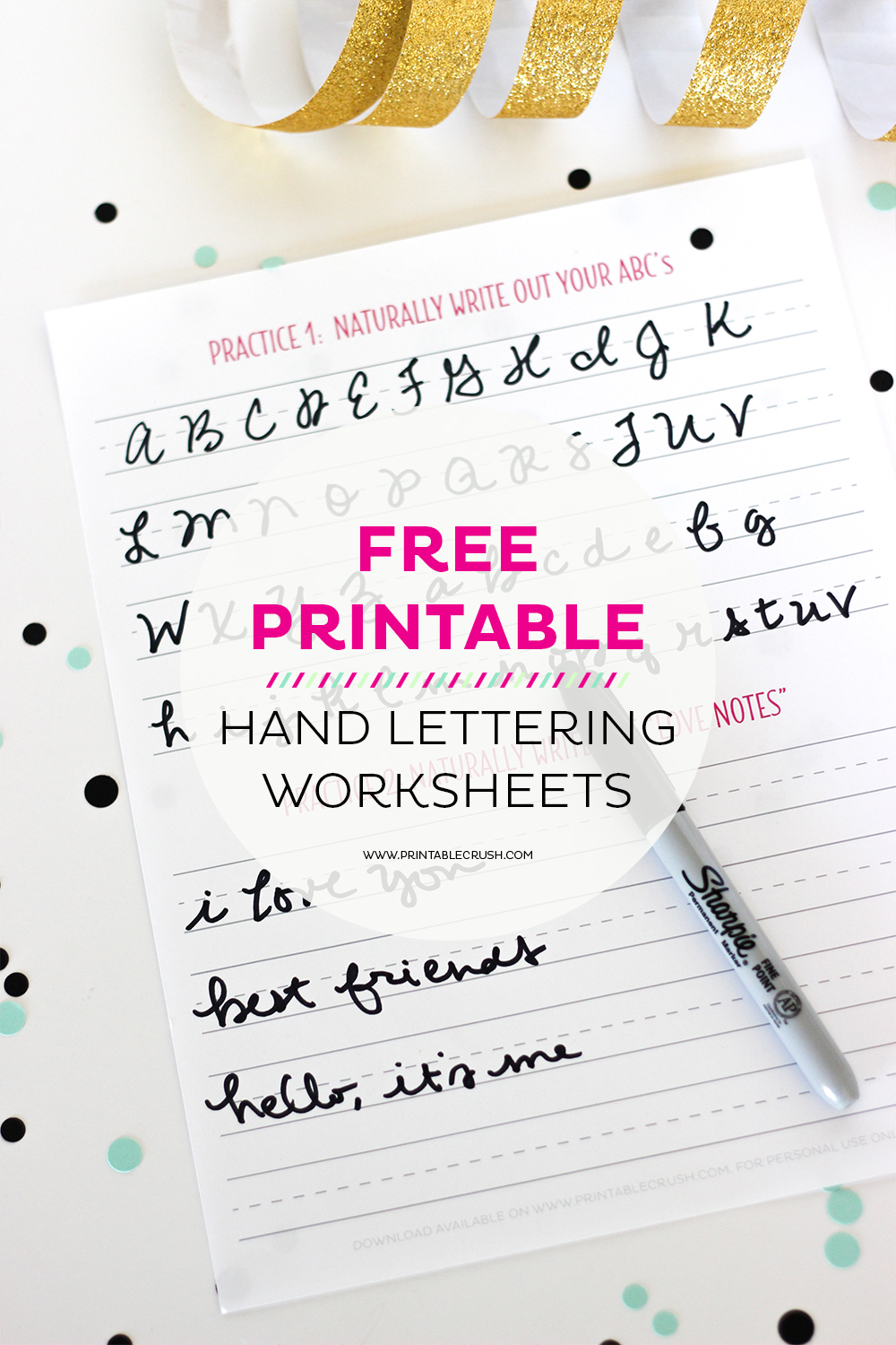 Free hand lettering worksheets for beginners printable