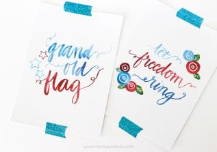 These pretty Hand Lettered Fourth of July Wall Art Prints will go great with your patriotic decor! Comes in three different designs!