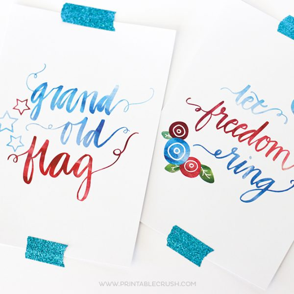 3 FREE Hand Lettered Fourth of July Wall Art Prints