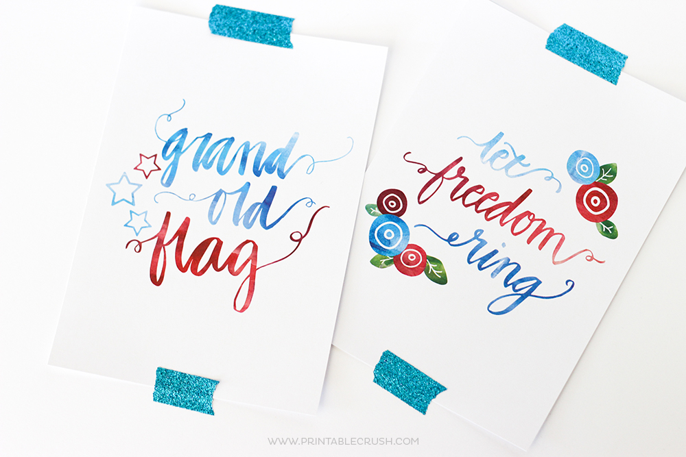 Fourth Wall Art Gallery Lewiston : Free hand lettered fourth of july wall art prints