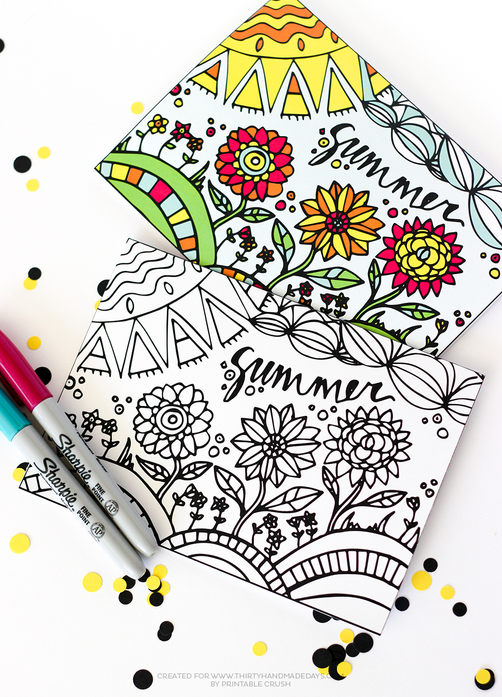 photo relating to Printable Coloring Cards identified as Printable Summertime Coloring Card - 30 Home made Times