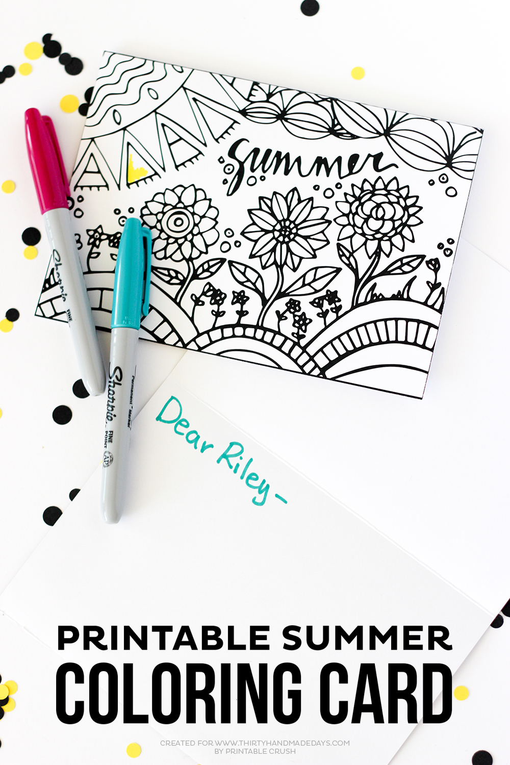 This Summer Printable Coloring Card Is A Great Way To Keep The Kids Busy Over