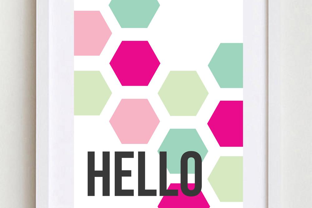 Printable Hello Hexagon Sign