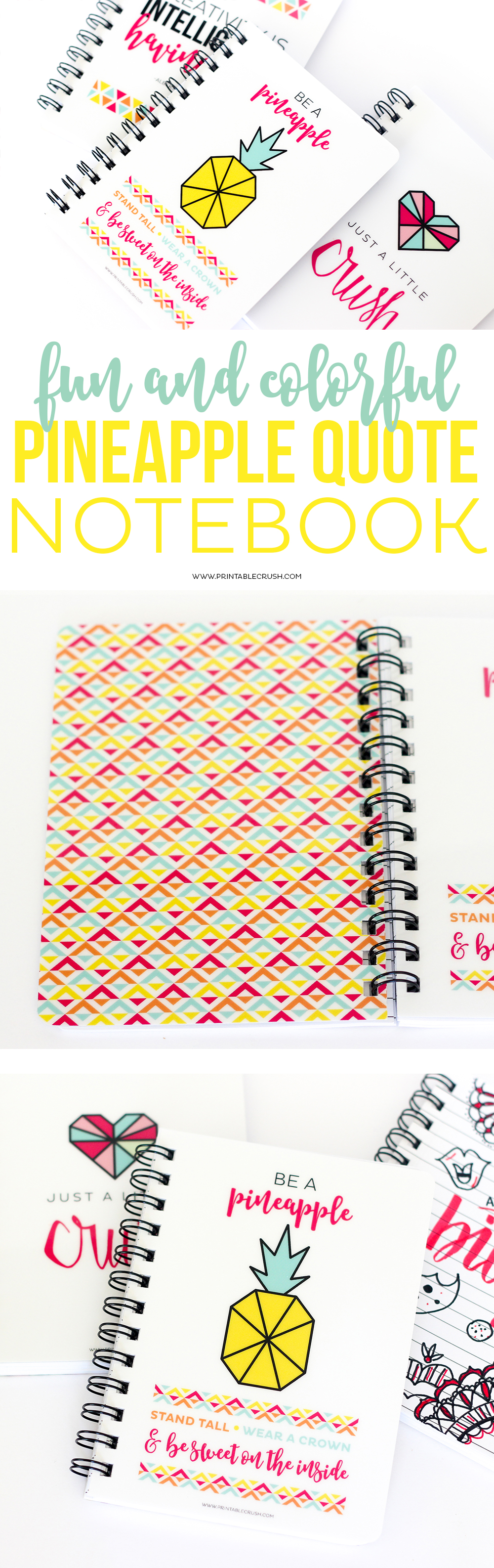 Keep those ideas flowing with this gorgeous Pineapple Quote Spiral Notebook! It has a durable laminated cover and lined pages for when inspiration strikes!