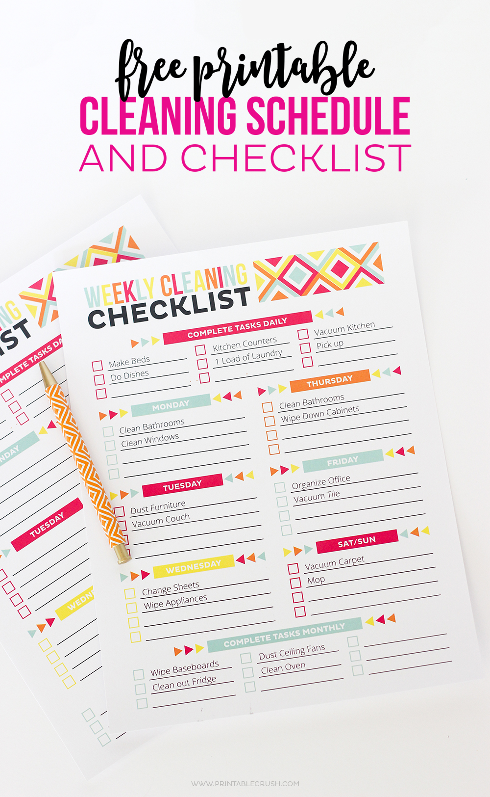 Free printable cleaning schedule and checklist printable for House cleaning and organizing