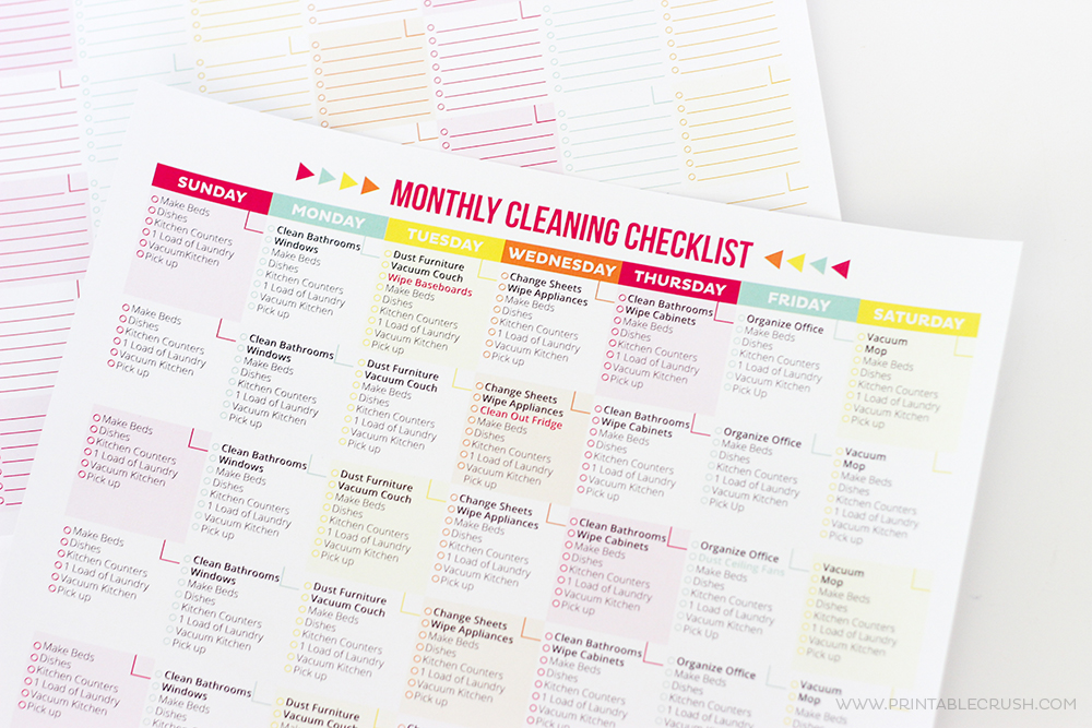 Free Printable Cleaning Schedule And Checklist  Printable Crush