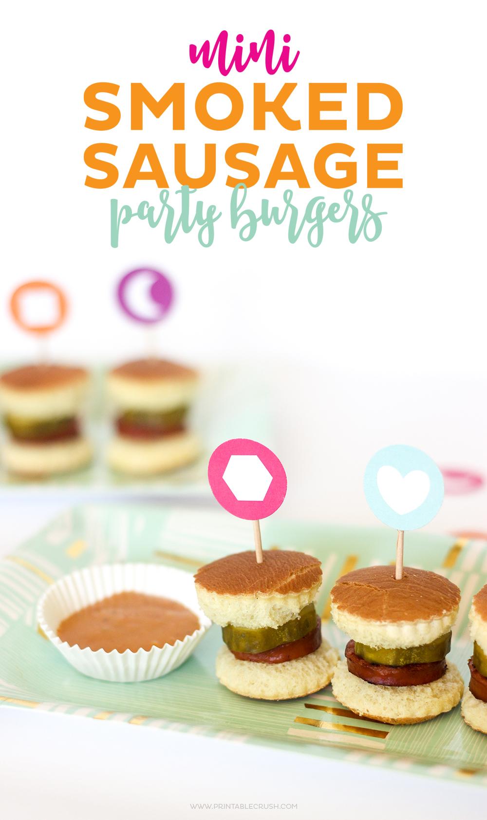 These mini smoked sausage burgers would be perfect for a party or after school snack! They're super cute and easy!