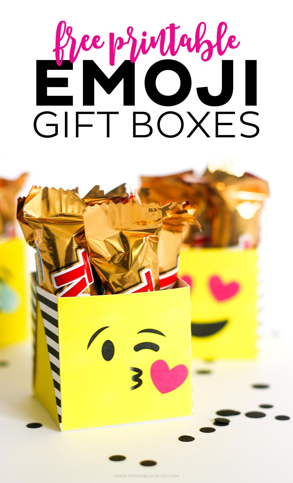 FREE Printable Emoji Gift Boxes
