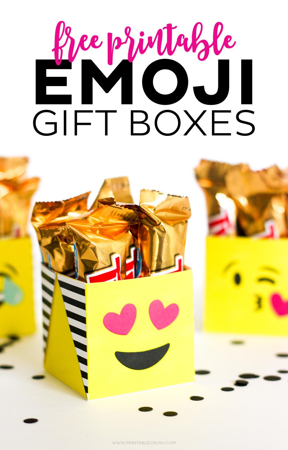 FREE Printable Emoji Gift Boxes Crush