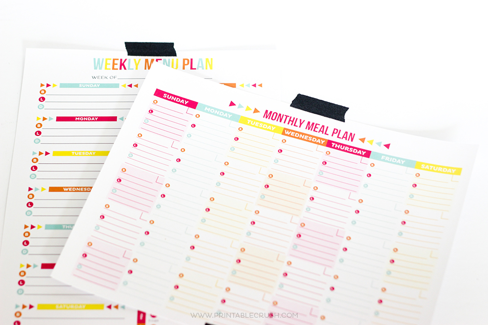 Monthly and Weekly FREE Printable Meal Planner
