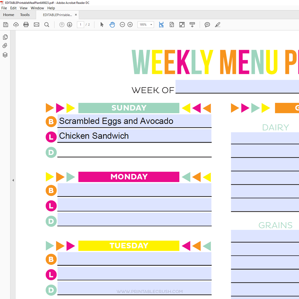 Editable Meal Plan Printable - Printable Crush