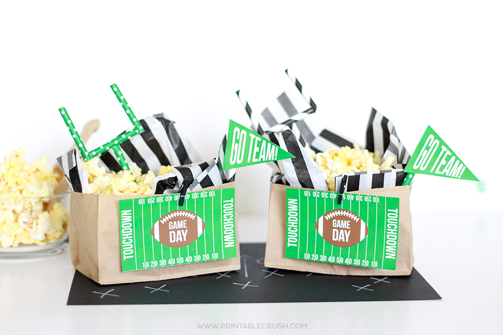 Football Popcorn Bags with FREE Game Day Printables!