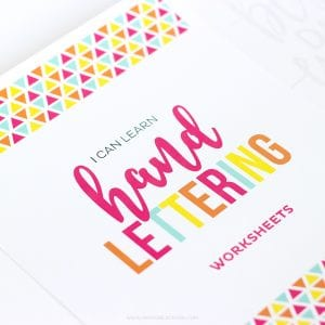 Teach Your Kids Hand Lettering with these Hand lettering Worksheets for kids! This is great for teaching your kids how to write in cursive, too! Learn how to write ever letter of the alphabet, swashes, and fun phrases!