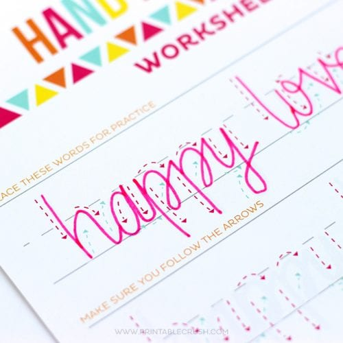Teach Your Kids Hand Lettering with these FREE Hand lettering Worksheets for kids!