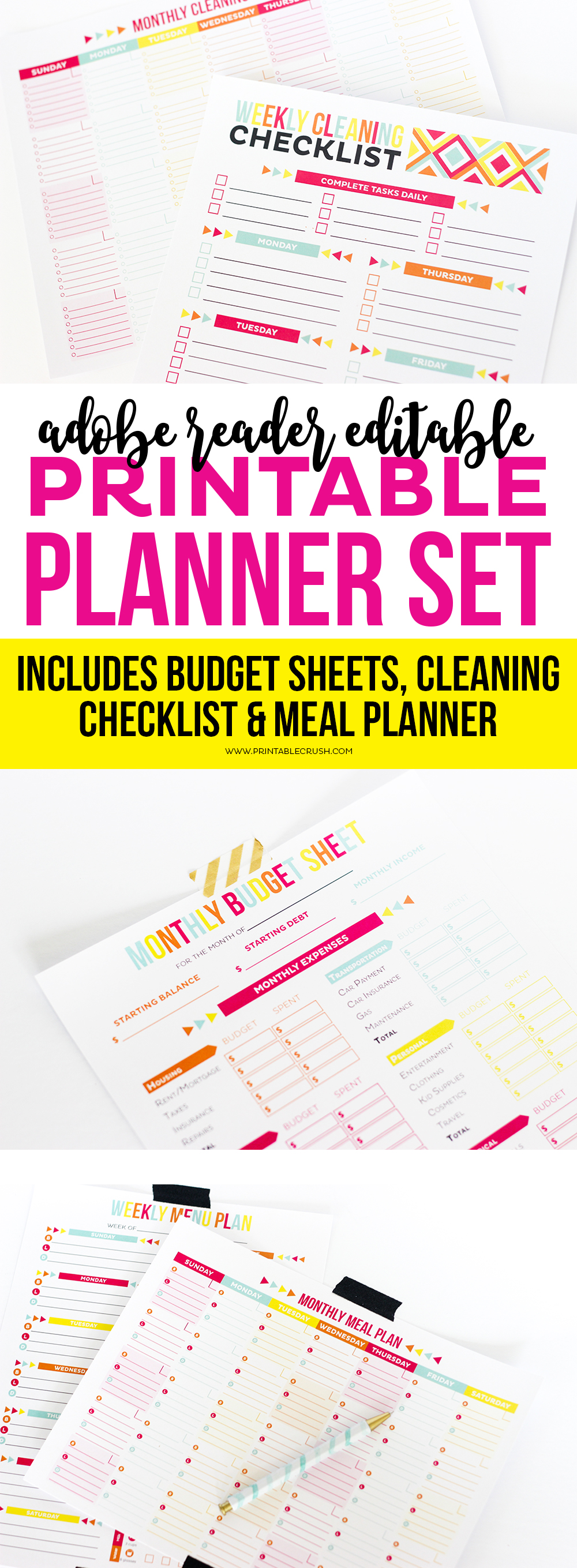 Get these Adobe Reader Editable Planners to keep you more organized! Includes meal planner, budget sheets and a cleaning checklist!