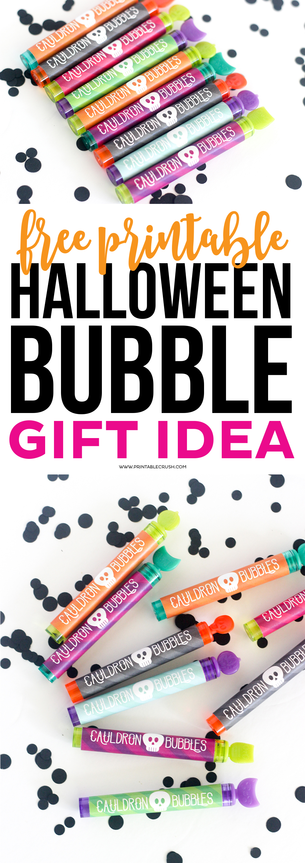 This Halloween Printable Bubble Gift Idea is perfect for a Halloween Party Favor! Download this adorable and spooky printable for FREE!